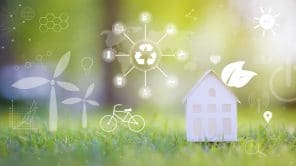 small white house on green background with ecological conservation icons ecological development technology concept